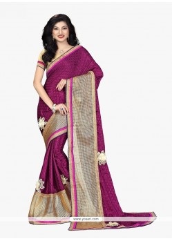 Magnetize Magenta Patch Border Work Faux Chiffon Classic Saree