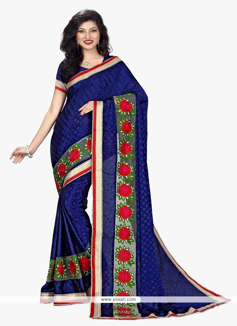 Intrinsic Faux Crepe Navy Blue Patch Border Work Traditional Saree