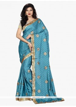 Tempting Faux Crepe Patch Border Work Trendy Saree