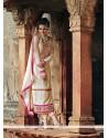 Cream Zari Work Georgette Churidar Suit