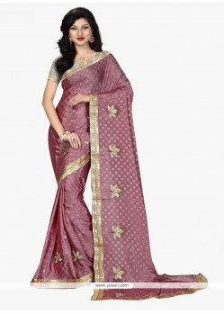 Prodigious Patch Border Work Lavender Classic Saree