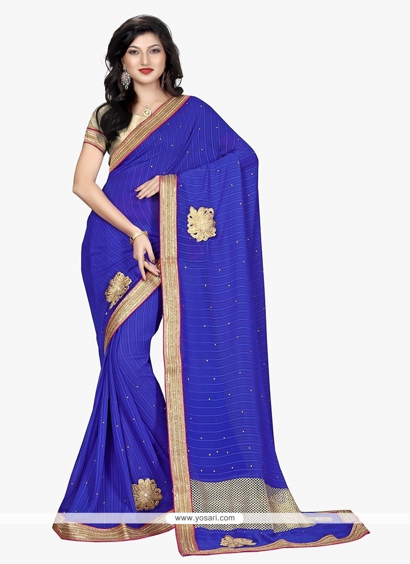Awesome Blue Patch Border Work Trendy Saree