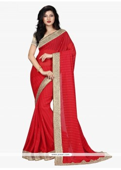 Staggering Georgette Patch Border Work Classic Saree