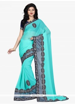 Miraculous Patch Border Work Turquoise Georgette Classic Designer Saree
