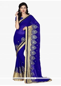 Divine Georgette Navy Blue Patch Border Work Traditional Saree
