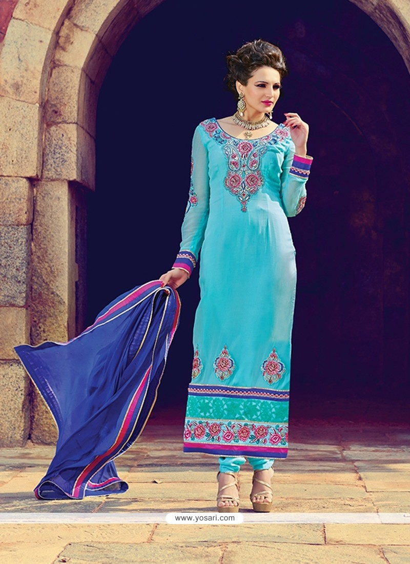 Turquoise Blue Georgette Churidar Suit