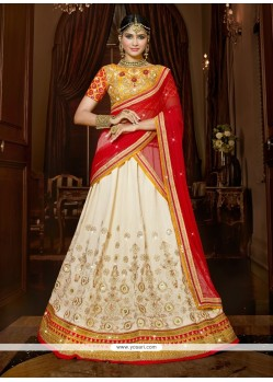 Masterly Patch Border Work Silk A Line Lehenga Choli