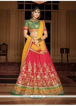 Genius Silk Hot Pink Embroidered Work A Line Lehenga Choli