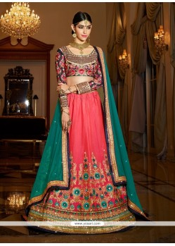 Incredible Silk Rose Pink A Line Lehenga Choli