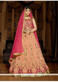 Innovative Patch Border Work Hot Pink And Peach Silk A Line Lehenga Choli