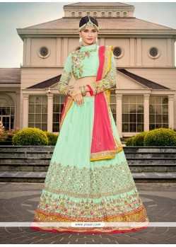 Sensible Embroidered Work Sea Green A Line Lehenga Choli
