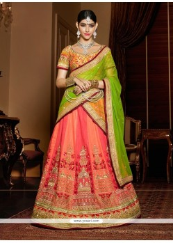 Modern Patch Border Work Rose Pink Silk A Line Lehenga Choli