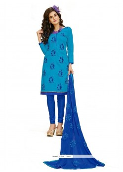 Breathtaking Embroidered Work Blue Cotton Churidar Designer Suit