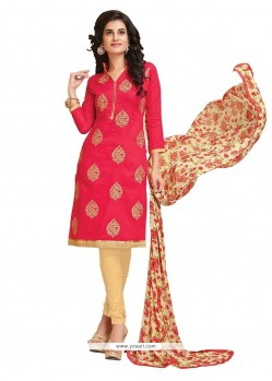 Stylish Hot Pink Embroidered Work Cotton Churidar Designer Suit