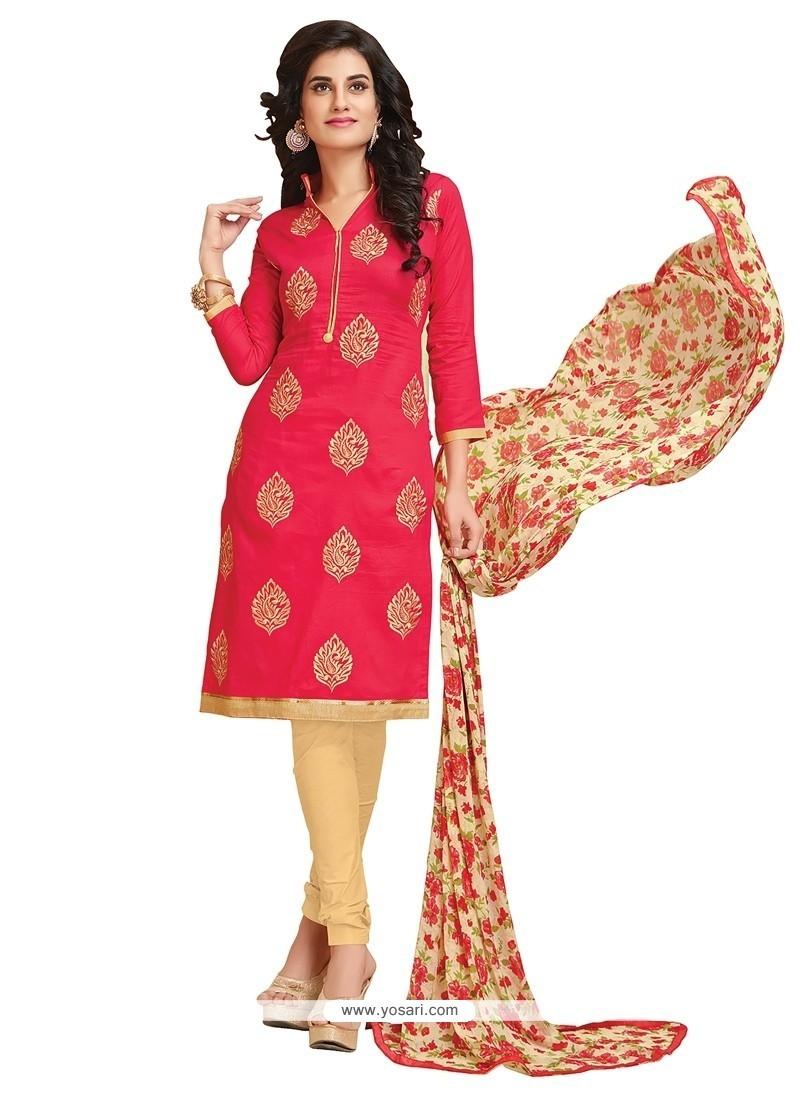 Stylish Hot Pink Embroidered Work Cotton Churidar Designer Suit