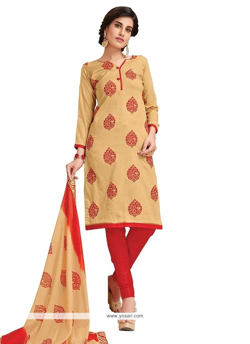 Competent Beige Churidar Designer Suit