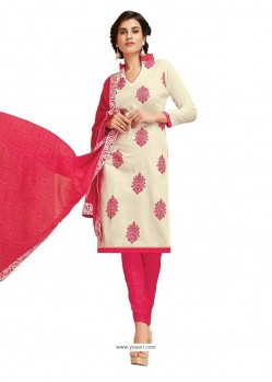 Magnificent Off White Embroidered Work Cotton Churidar Designer Suit