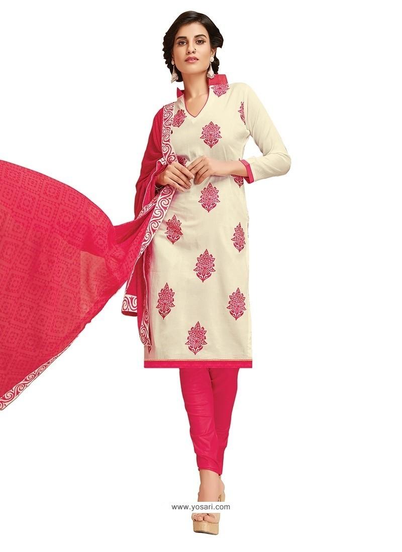 Magnificent Off White Embroidered Work Cotton Churidar Designer Suit