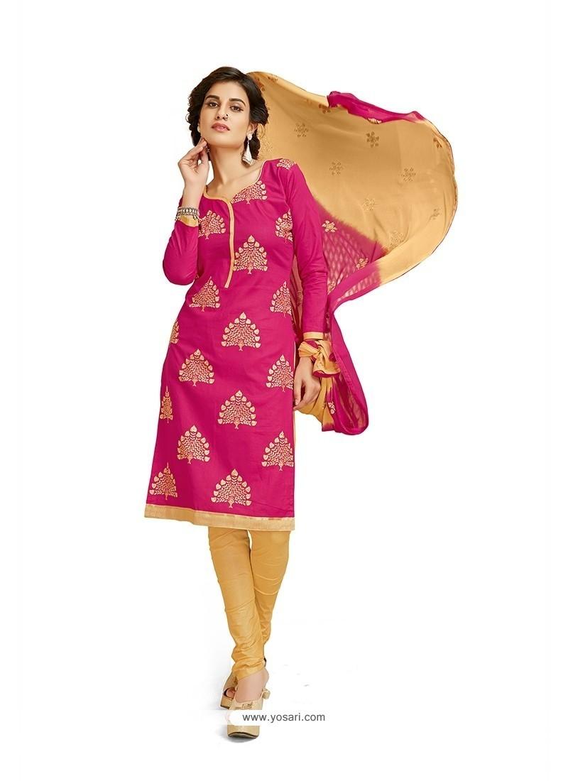 Pleasing Embroidered Work Cotton Churidar Designer Suit
