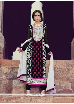 Excellent Black Georgette Churidar Suit