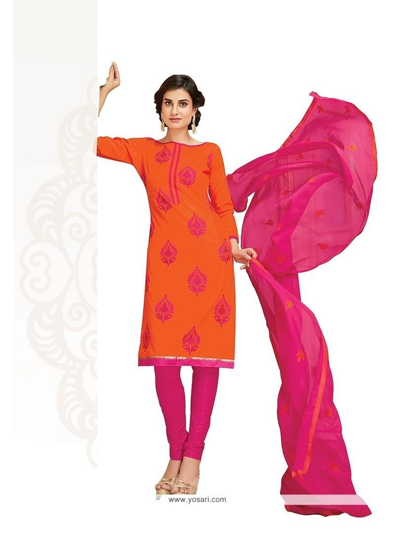 Swanky Embroidered Work Orange Churidar Designer Suit