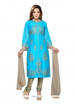 Lavish Resham Work Chanderi Turquoise Readymade Suit