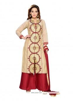 Scintillating Chanderi Beige Readymade Suit