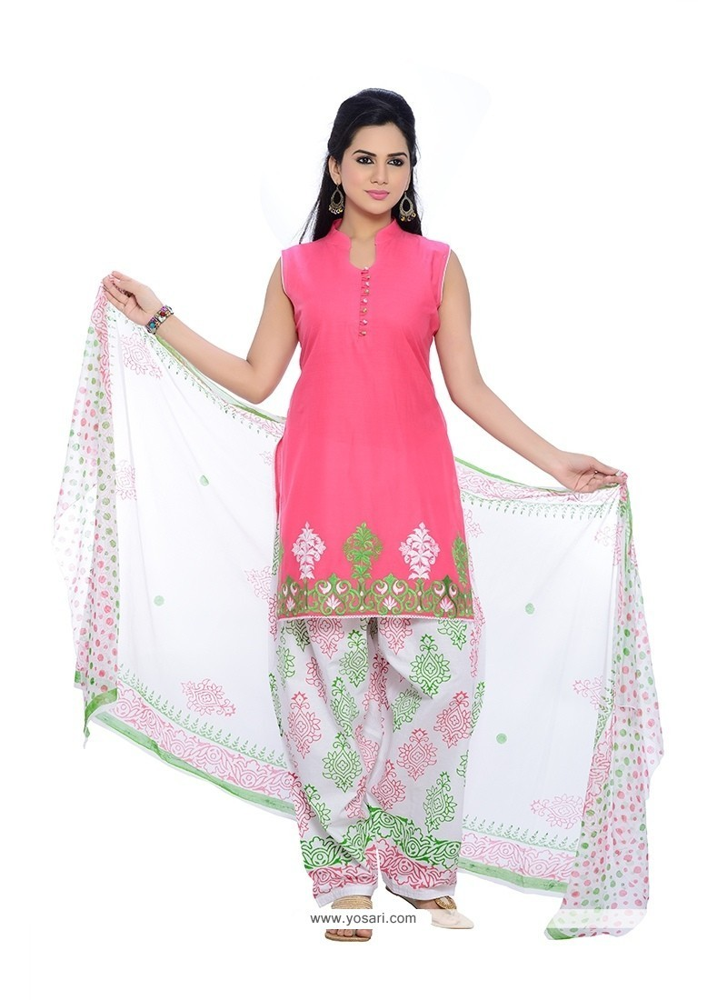 Royal Pink Cotton Readymade Suit