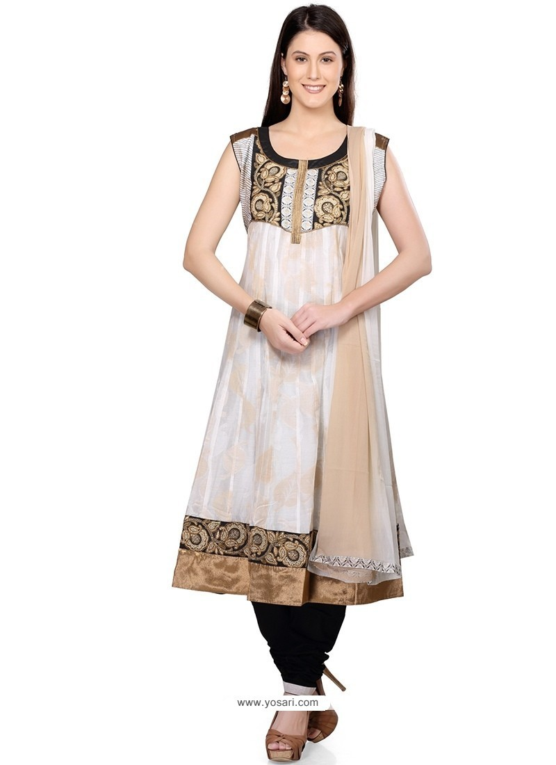 Attractive Lace Work Chanderi Readymade Suit