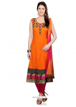 Scintillating Orange Cotton Readymade Suit