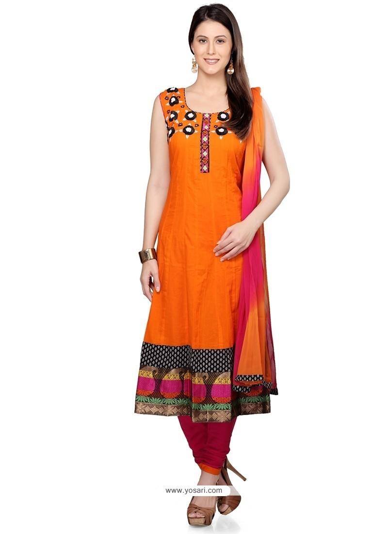 Scintillating Orange Cotton Readymade Suit