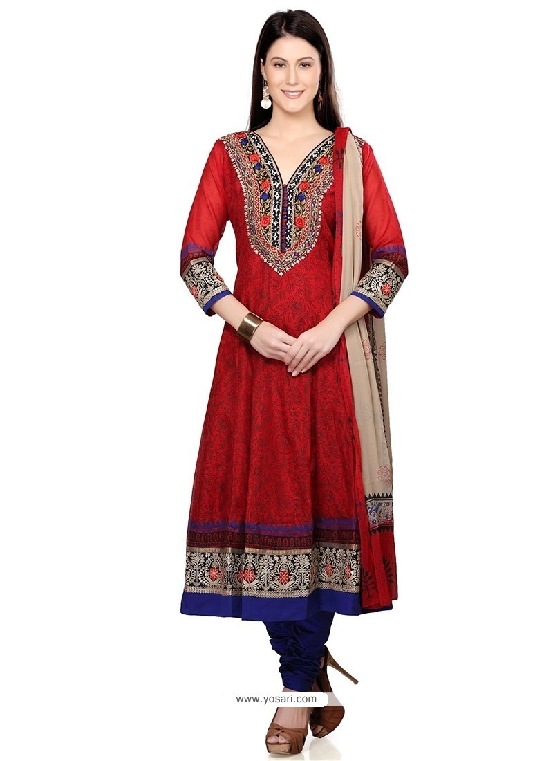 Awesome Cotton Red Readymade Suit
