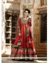 Mesmeric Red Net Floor Lenght Anarkali Suit
