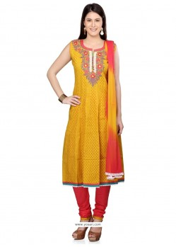 Zesty Yellow Lace Work Cotton Readymade Suit