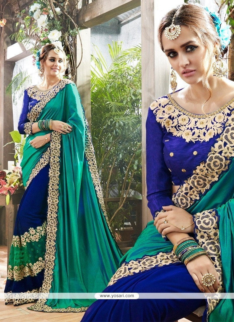 Eye-catchy Georgette Blue Classic Saree
