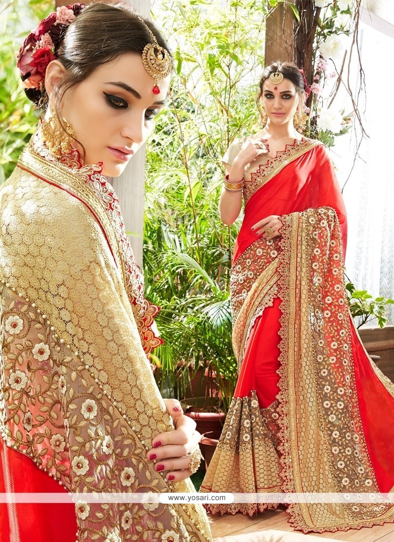 Dignified Georgette Beige Traditional Saree