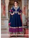 Opulent Blue Embroidery Work Floor Lenght Anarkali Suit