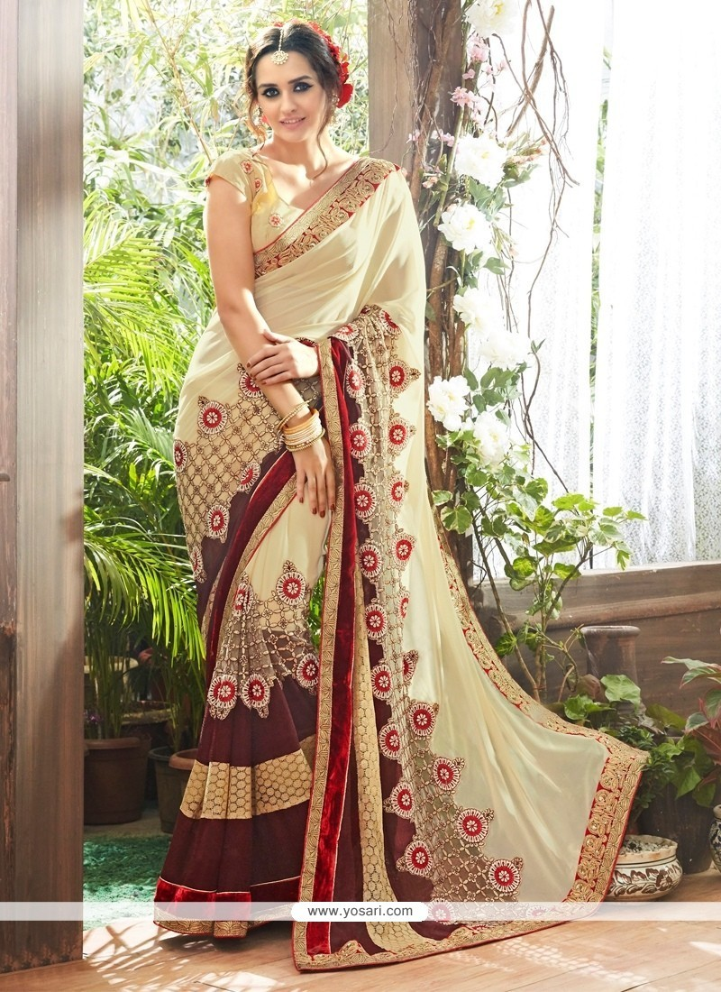 Fab Embroidered Work Georgette Traditional Saree