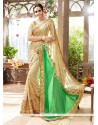 Affectionate Beige And Green Patch Border Work Georgette Designer Traditional Sarees
