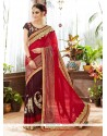 Thrilling Georgette Brown And Red Classic Saree