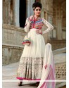 Off White Net Floor Lenght Anarkali Suit