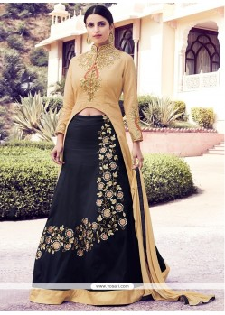 Enthralling Black Embroidered Work Georgette A Line Lehenga Choli