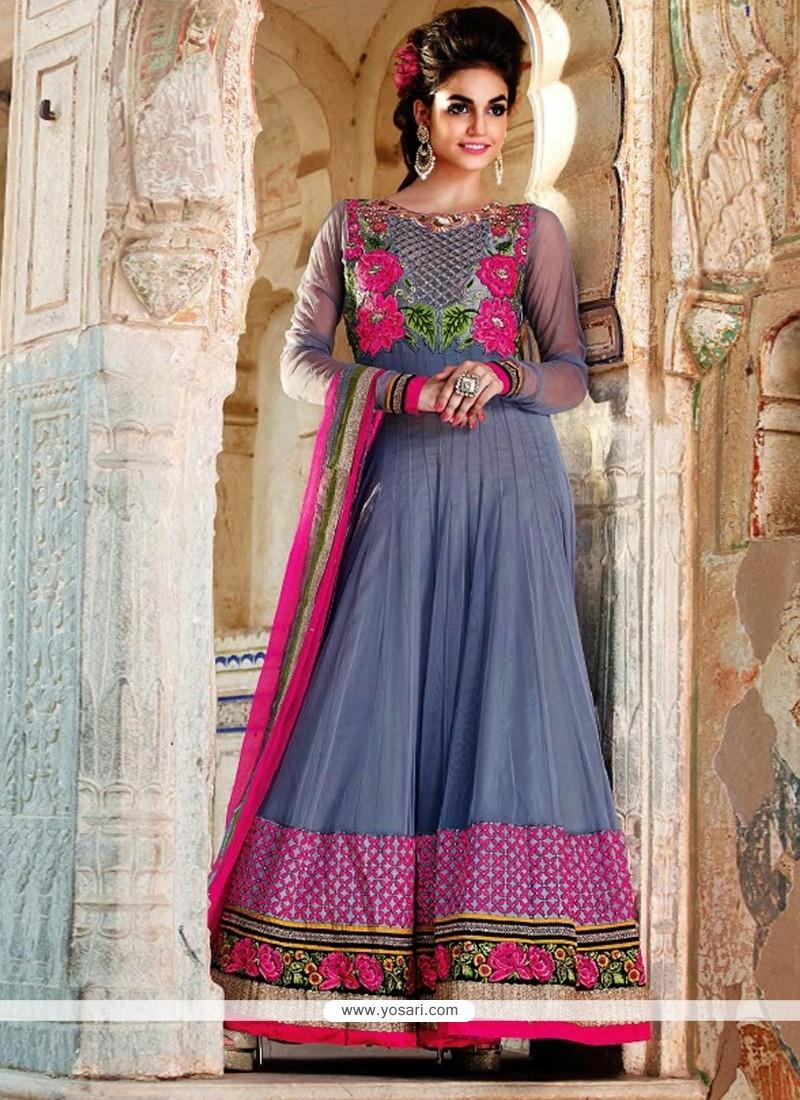Glorious Grey Net Floor Lenght Anarkali Suit