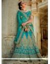 Regal Turquoise Embroidered Work A Line Lehenga Choli
