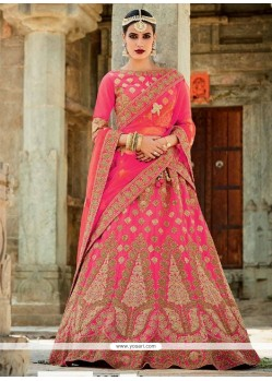 Awesome Rose Pink Art Silk A Line Lehenga Choli