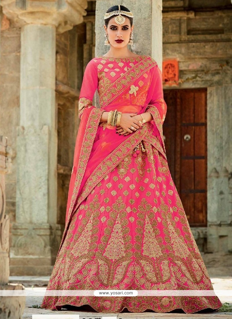 Awesome Rose Pink Art Silk A Line Lehenga Choli