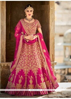 Sunshine Magenta Patch Border Work Art Silk A Line Lehenga Choli