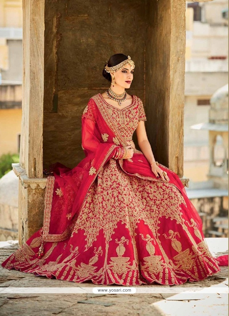 Blooming Art Silk Red A Line Lehenga Choli