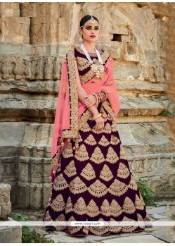 Patch Border Art Silk A Line Lehenga Choli In Wine