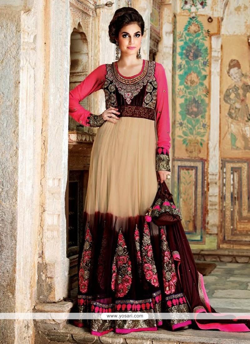 Beige And Brown Net Floor Lenght Anarkali Suit